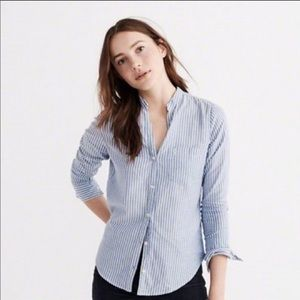 A&F blue and white striped button up shirt xs